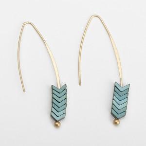 Latest Design Gold Plated Vintage Multicolor Arrow Hook Earrings