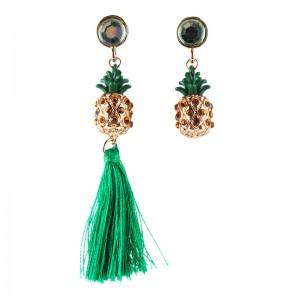 Bohemian Rhinestones Crystal Asymmetry Pineapple Long Tassel Dangle Earrings Fruit Jewelry