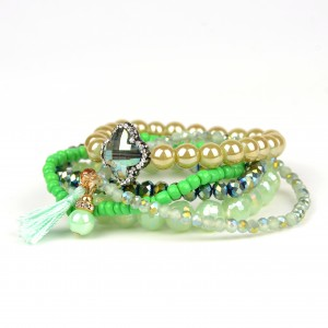 Hot-sales woman stone wrap bead bangle wholesale multilayer bracelet for women