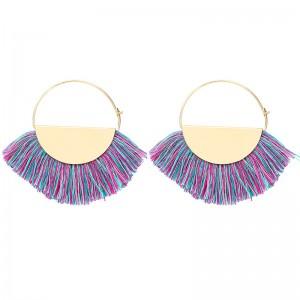 New Arrival Gold Plated Bohemian Handmade Fan Shape Thread Tassel Drop Hoop Earrings