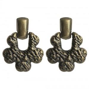 WENZHE New Women Antique Brass Irregular Geometric Metal Stud Earrings
