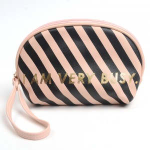 WENZHE Custom Stripe Pattern Letter Cosmetic Bag