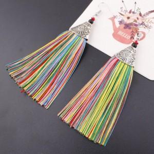Wholesale Women Vintage Earrings Jewelry Ancient Long Tassel Drop Earrings
