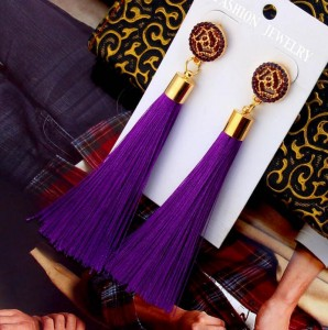 Wholesale girls jewelry accessory multicolor boho flower long tassel earrings