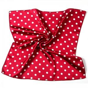 WENZHE Wholesale High Quality Super Soft Custom Dot Summer Wild Lady Square Silk Satin Scarf