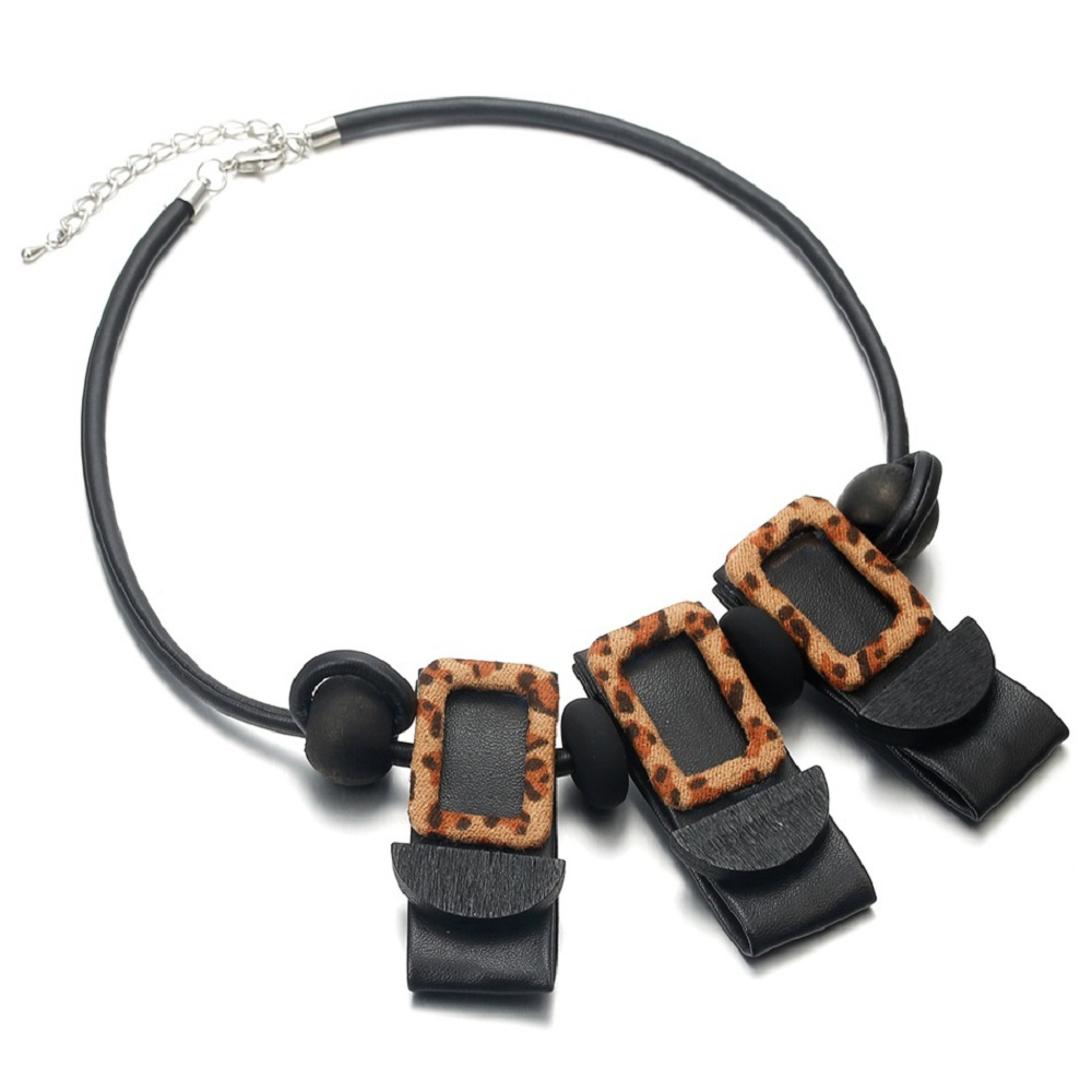 WENZHE Autumn and winter popular leather leopard wood beads statement choker necklace Featured Image
