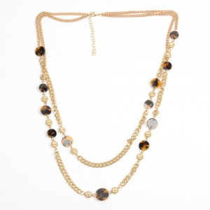 WENZHE New Arrival Gold Plated Geometric Leopard Acrylic Multilayer Chain Necklace