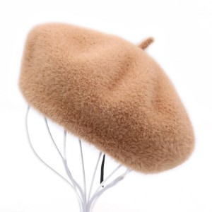 Ladies Spring Winter Vintage Solid Color Warm Wool Berets Hat Painter Style Hats