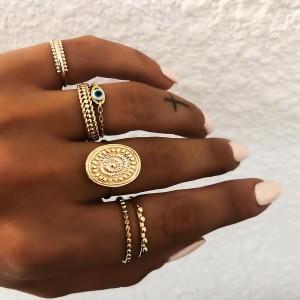 Seal pattern eye chain ring set of 6