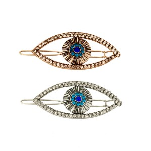 WENZHE Hot sale evil eyes turkey hair clip metal crystal rhinestone barrettes for women