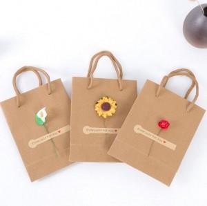 Wholesale custom logo rope handle craft kraft jewelry paper bag