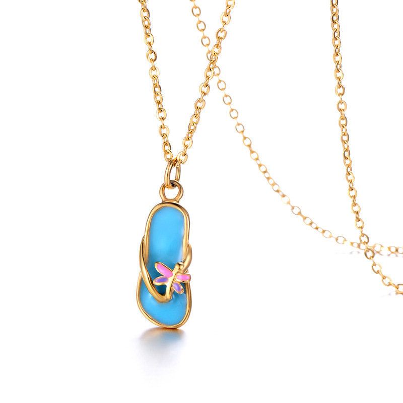 WENZHE Stainless steel lady's shoe gold chain fashion pendant necklace Featured Image