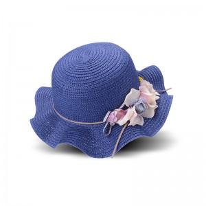 WENZHE Summer Travel Flower Wave Brim Kids Straw Hats