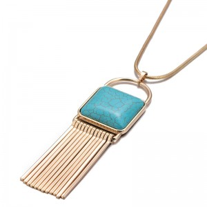 Fashion Ethnic Style Gold Plated Turquoise Tassel Pendant Long Chain Necklace
