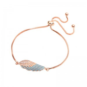 WENZHE Fashion Jewelry Factory Accessory Women Wing Rose Gold Adjustable Bracelet