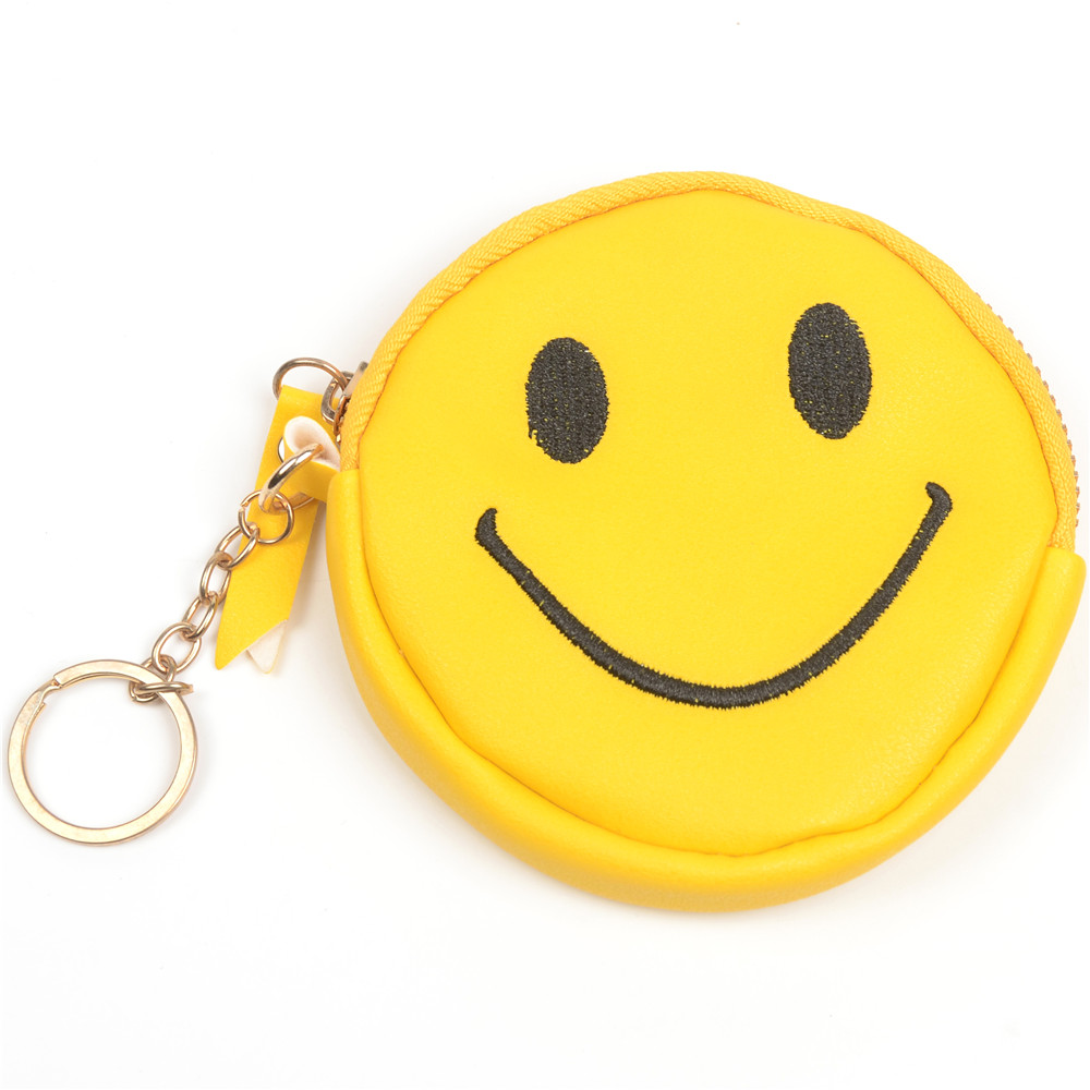 WENZHE Smile Face PU Leather Cute Keychain Bag Coin Purse With Tassels Featured Image