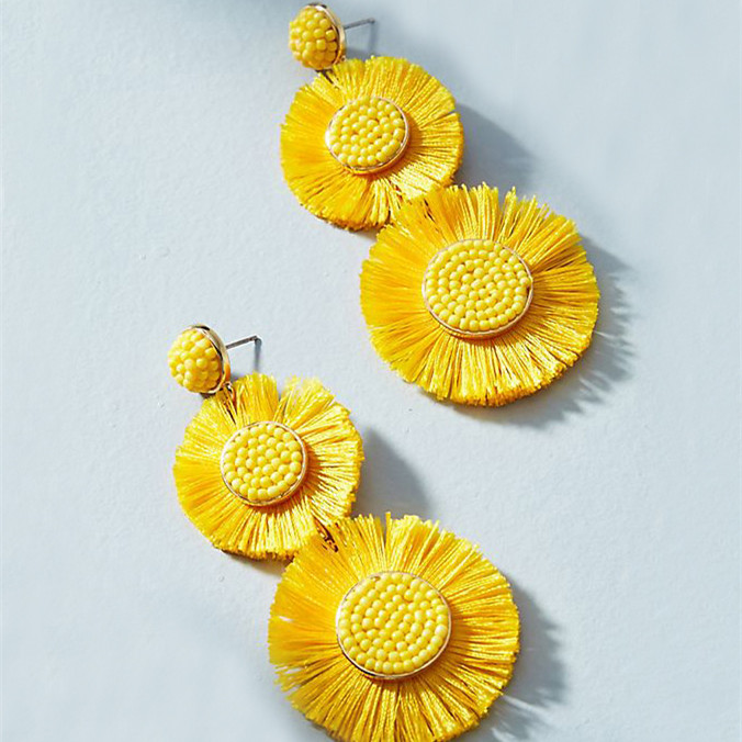 WenZhe Plated Metal Cotton Plastic Beads Sunflare Drop Dangling Earrings Featured Image