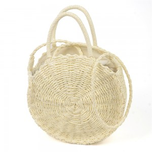 WENZHE Women Round Straw Rattan Shoulder Bag Corn Summer Woven Bags