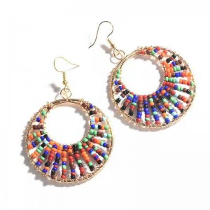 WENZHE Bohemian multicolor seed beads statement hoop earrings