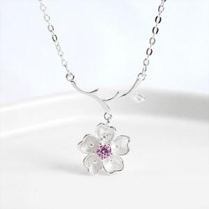S925 Sterling Silver Clavicle Chain With Single Diamond Sakura Pendant Necklace Female