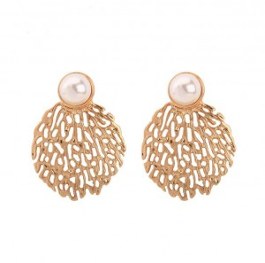 Pearl Jewelry Coral Branches Metal Shape Hollow Gold Earring Stud
