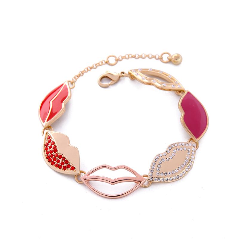 Enamel Crystal Hollow Lip Charm Bracelets Women Jewelry Featured Image