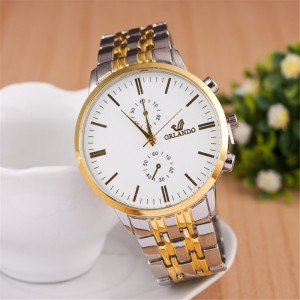 Men's steel belt watch simple scale casual quartz watch