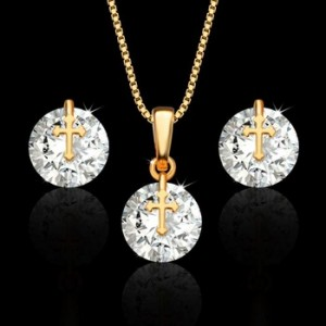 New style gold cross copper plated 18K gold zircon earrings necklace two-piece women's jewelry set