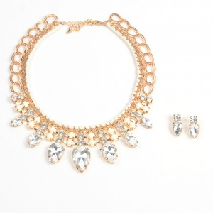 WENZHE Gold Plated Big Rhinestone Necklace Earring Bridal Jewelry Sets