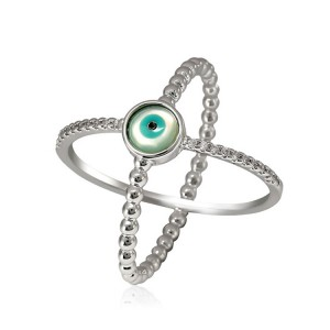 New Fashion Women Jewelry Unique X-shaped Evil Eye Ring
