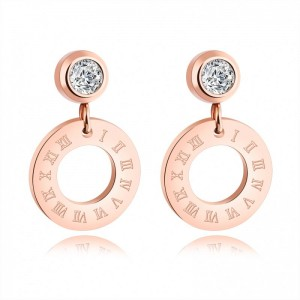 Latest Personalized Roman Numeral Circle Custom Earrings