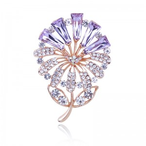 WENZHE Best selling banquet dress purple flower pin crystal brooch