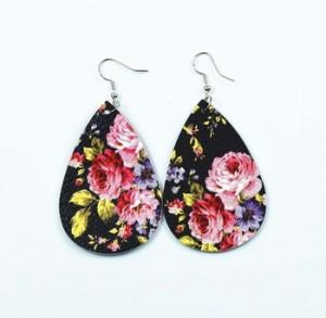 Fashion pu earrings drop shape rose pattern leather earrings jewelry