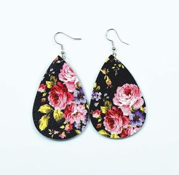 Fashion pu earrings drop shape rose pattern leather earrings jewelry Featured Image
