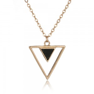 Personalized simple hollow geometry triangle white black turquoise pendant choker necklace