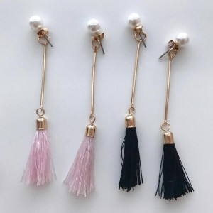 Handmade Simple Fashion Jewelry Pearl Tassel Stud Long Korea Earring