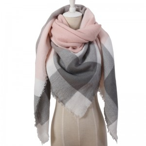 WENZHE Winter Triangle Scarf For Women Shawl Cashmere Plaid Scarves Blanket
