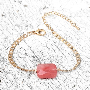 New arrival gold chain adjustable pink crystal natural stone ladies bracelet