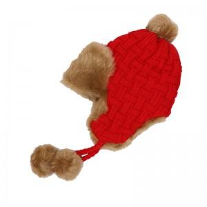 WENZHE Women's Winter Crochet Earflap Fur Ball Knitted Beanie Hats