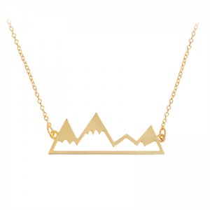 Simple Dainty Alloy Fine Jewellery Fashion Gold Silver Cool Mountain Top Charm Necklace