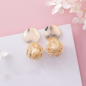 Latest design pearl earrings handmade gold metal wire braid ball pearl earrings
