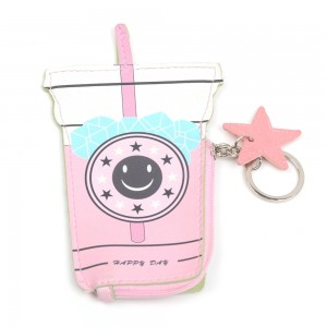 WENZHE Cartoon Women Coin Purses Cute Drink Bottle Leather Pouch Children Wallet Small Bag For Keys