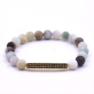 Wholesale Fashion Jewelry Handmade 8mm Frost Natural Stone Bead Stretch Bracelet for Men Women