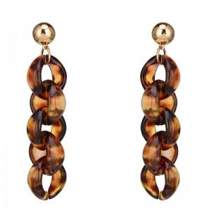 Women Statement Jewelry Multi Geometric Circle Link Acrylic Drop Dangle Earrings