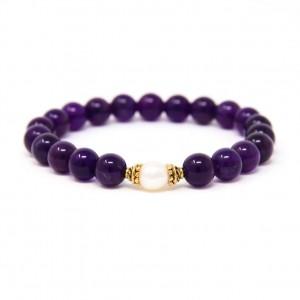 Buddhist Mala Bracelet, Yoga Bead Bracelet, Spiritual Jewelry, Amethyst & Freshwater Pearl – Healing, Emotional Balance, Spirituality