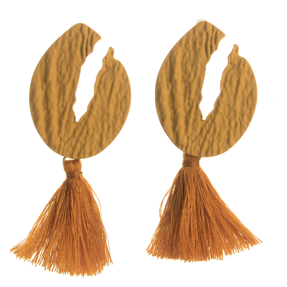 WENZHE New Hot National Wind Female Geometric Alloy Long Tassel Earrings Featured Image