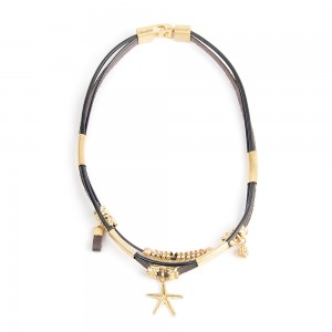 WENZHE New Style Short  Leather Cord Starfish Pendant Necklace