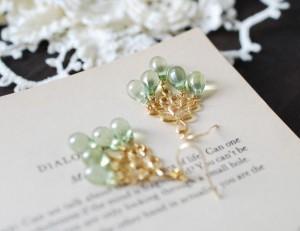Mint Green Glass Drops Chandelier Earring