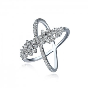 Wholesale Wedding Ring Silver Zircon X Shape Cross Ring For Ladies Finger Bridal Rings