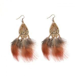 Hot sale Retro Style Fashion Fan Earring Feather Tassel Earring For Woman